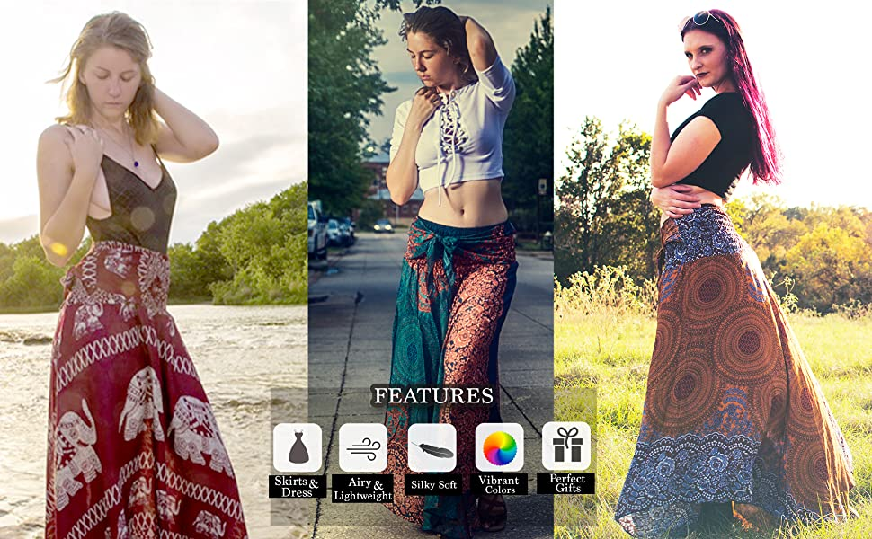 long maxi skirt skirts women hippie boho bohemian gypsy womens plus size beach floral dress black