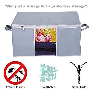 Prettykrafts Under bed Storage Bag, Storage Organizer, Blanket Cover with Side Handles - Grey