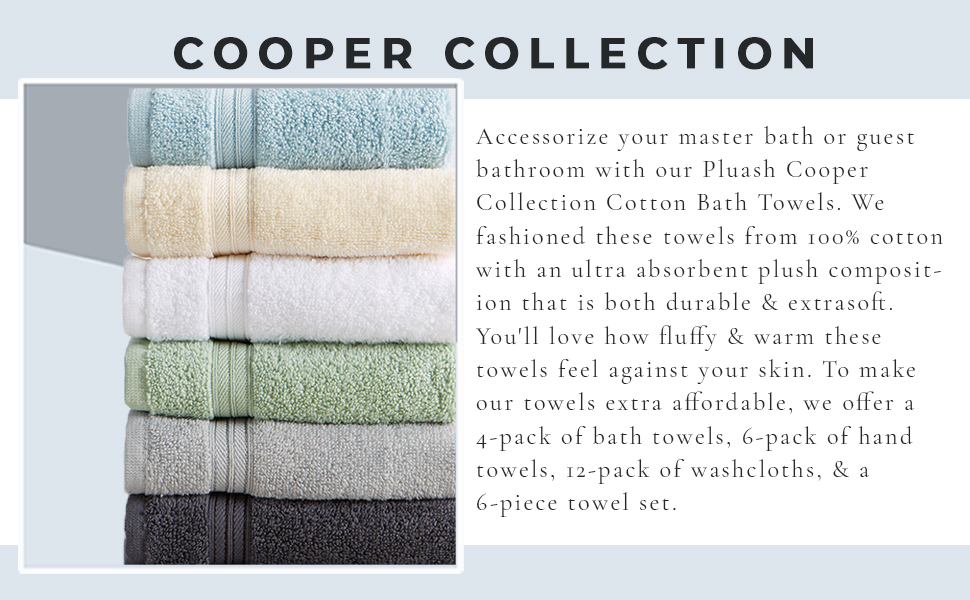 Cooper Cotton Bath Towels absorbent plush durable extra soft