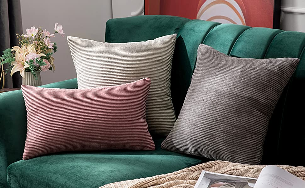 cozy soft dark gray grey corduroy pillow covers