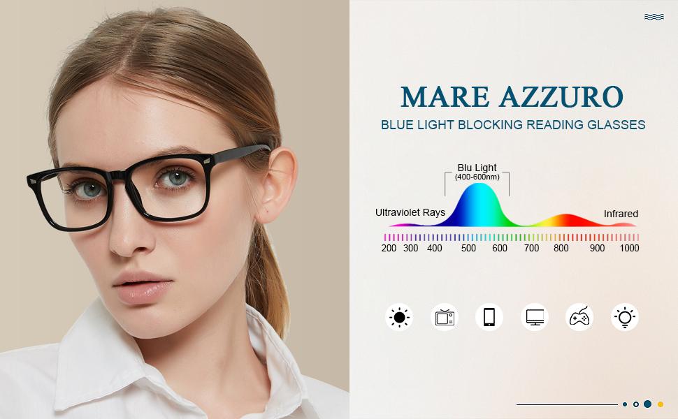 MARE AZZURO blue light blocking reading glasses women lightweight computer screen readers