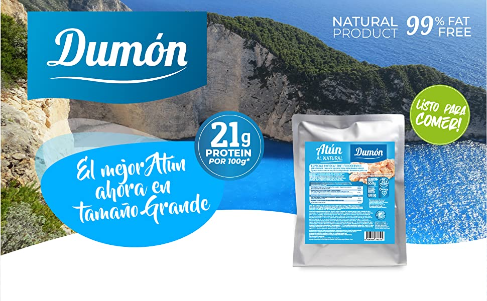 DUMON - NUEVO - Pack de 10 de 650 gramos de Conserva de Atún al Natural, En Su Propio Jugo. Contiene 21 gramos de PROTEÍNA