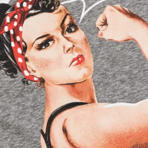 rosie the riveter holding a yoga mat with phrase we can do it screen printed on racerback tank top