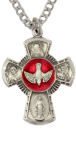 Men's Sterling Silver Four Way Cross Pendant with Red Enamel