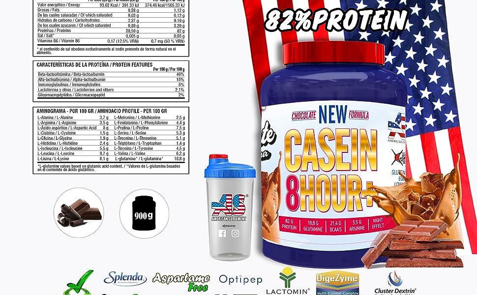 Proteina de noche 8 Horas de asimilación lenta- 82% Proteina- Bajo en azucar- American Suplement - 900g (Chocolate)