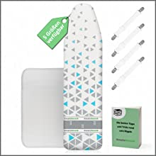 B/ügeltuch E-Book Extrem rutschfeste B/ügelmatte zum Reisen SimplySmooth B/ügelunterlage 100x60 f/ür Ihren Tisch als Alternative zum B/ügelbrett hitzebest/ändige B/ügeldecke mit Spannern