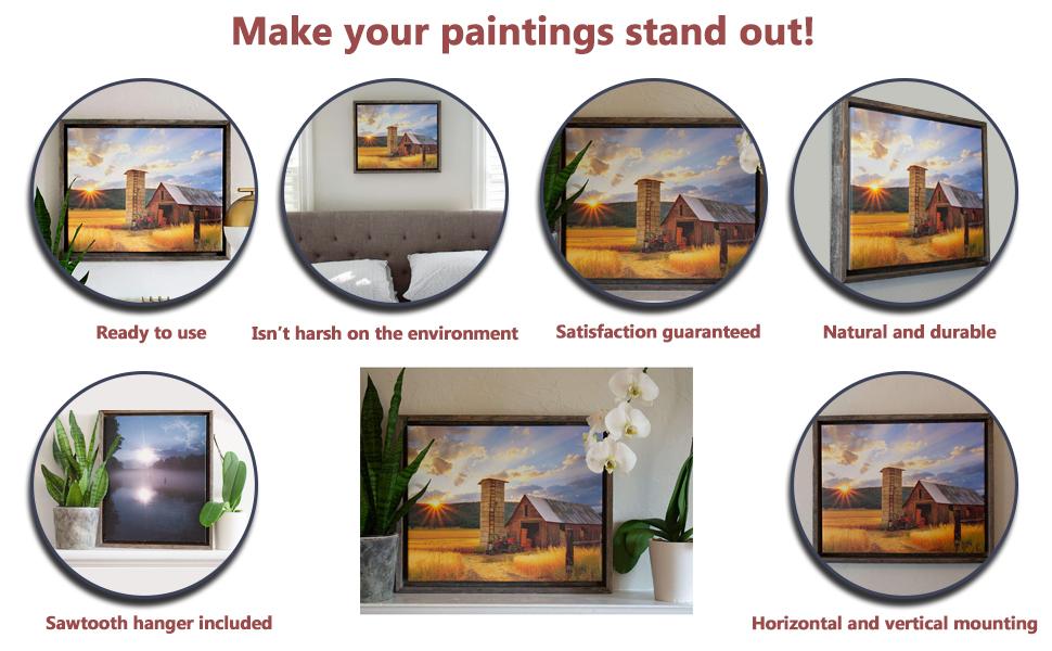 BarnwoodUSA Rustic Barnwood Canvas Frame Features