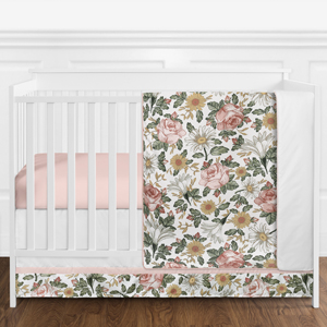 Vintage Floral Baby Girl Crib Bedding Set- 4 pieces - Blush Pink, Yellow, Green and White