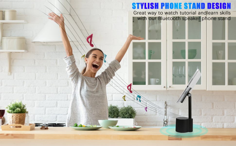 2  2 in 1 Bluetooth Speaker Phone Holder, Portable Wireless Speaker with Enhanced Bass and Stereo Sound, Adjustable Phone Stand, Compatible with All Mobile Phones, Suitable for Outdoor and Indoor f33f1424 cf9c 4170 906b 2c7e54682574