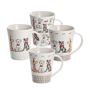SPOTTED DOG GIFT COMPANY Juego 4 Tazas de Desayuno de cáramica Porcelana para café té, Grandes Decorativas diseño de Perro Animales Regalo: Amazon.es: Hogar