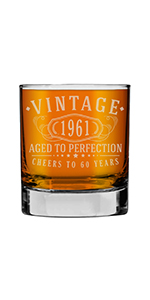 Vintage etched Whiskey rocks glass