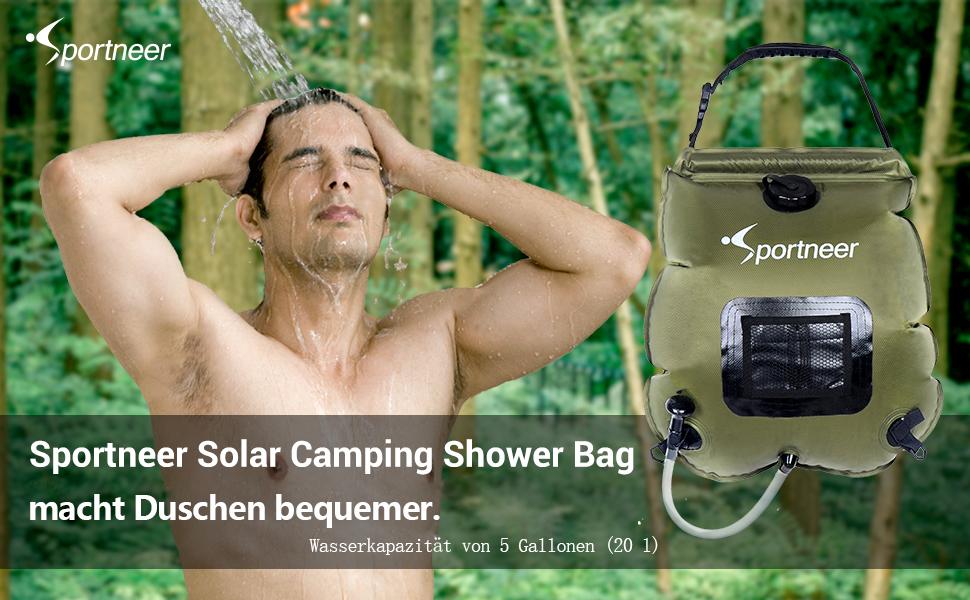 Solardusche Duschsack 20L mit Abnehmbarem Schlauch und on-Off Switchable Duschkopf f/ür Gartendusche Duschen Beutel Tauchpumpe Wandern im Freien Pooldusche Sportneer Campingdusche