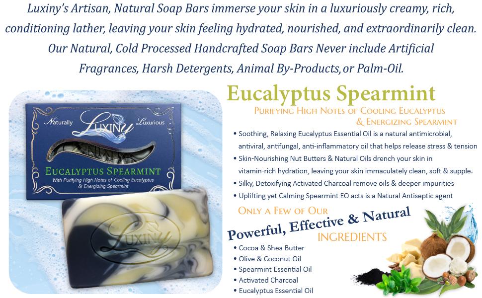 Eucalyptus, Bar Soap, Handcrafted, Spearmint, Essential Oil, Clay Mask, Body Soap, Bath, Mens Soap