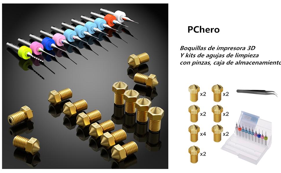 PChero 16 Pieza M6 Boquillas de Impresora 3D 0.2mm, 0.3mm, 0.4mm ...