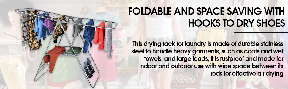 Durable Stainless Steel, With Heavy Duty Rods For effective Air drying