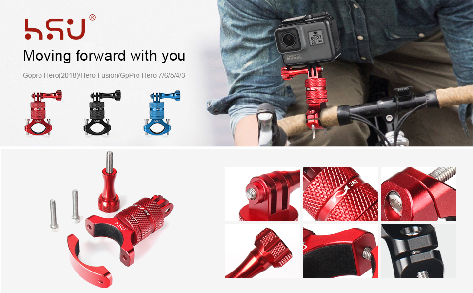 Aluminum Bike Bicycle Handlebar Mount for Gopro Hero 7/Hero 6/Hero 5/Hero (2018) Hero5/4 Session