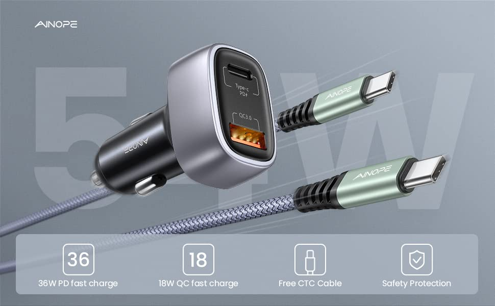usb c car charger adapter usb car charger pd 36W cigarette lighter usb charger iphone car charger