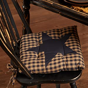 Navy Star Chair Pad primitive country rustic Americana VHC Brands kitchen tabletop runner placemat