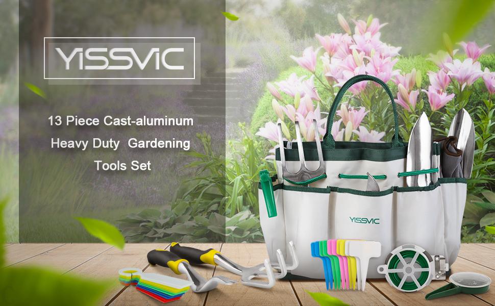 YISSVIC - Juego de herramientas de jardín de 12 piezas resistente de aluminio fundido