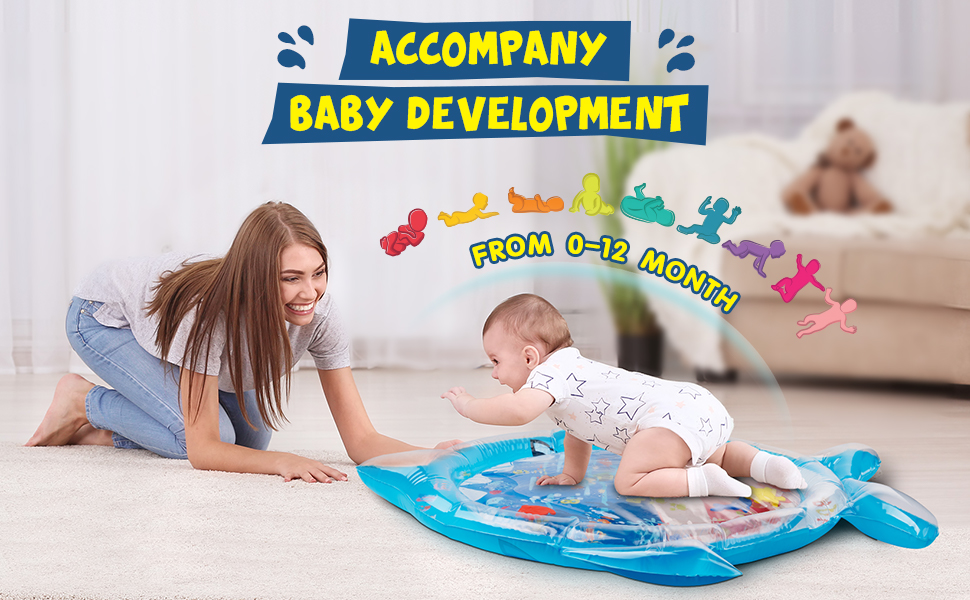 Soopotay Tummy Time Water Mat Infant Baby Toys Inflatable Play Mat for 3 to 12 Months Newborn Girl Boy