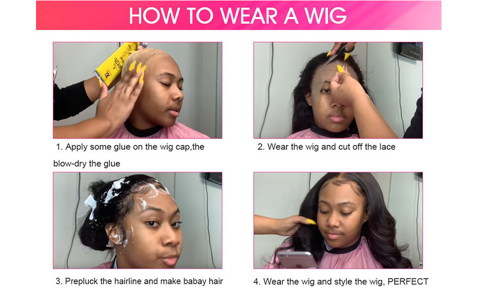 How to wear a wig .Apply some glue on the wig cap, then blow-dry the glue. .Wear the wig and cut