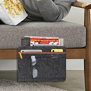 Magazine Phone Tablet Tissue Holder JIEHED Bedside Pocket Bedside Felt Storage Bag with Pockets Bed Sofa Desk Hanging Organizer Convenient Open Bag for Bedroom Living Room Desk Dorm Room Sofa