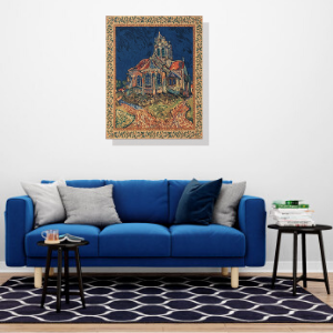 Church of Auvers Belgian Tapestry Wall Hanging