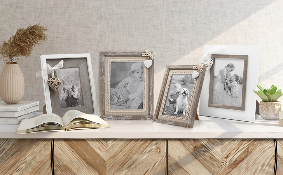 Love Decor Gift for Her\u2013 Rustic Home Decor \u2013 White Picture Frame \u2013Wedding Gift Rustic Picture Frame