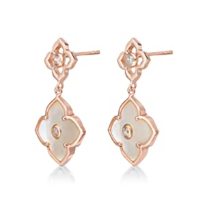 White Mother of Pearl Dangling Huggie Flora Earrings with Rose Gold Plating - Pink Sterling Silver