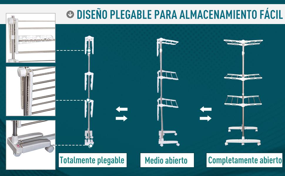 Tendedero Ropa Plegable 6 Ruedas 3 Niveles (80-142) x55x152 ...