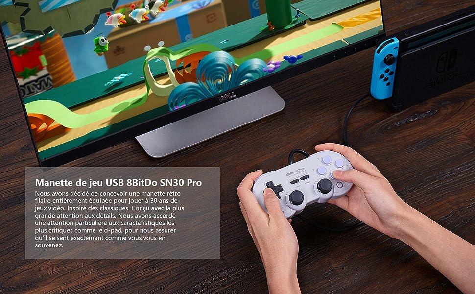 Contrôleur USB 8BitDo SN30 PRO pour Nintendo Switch, PC 1