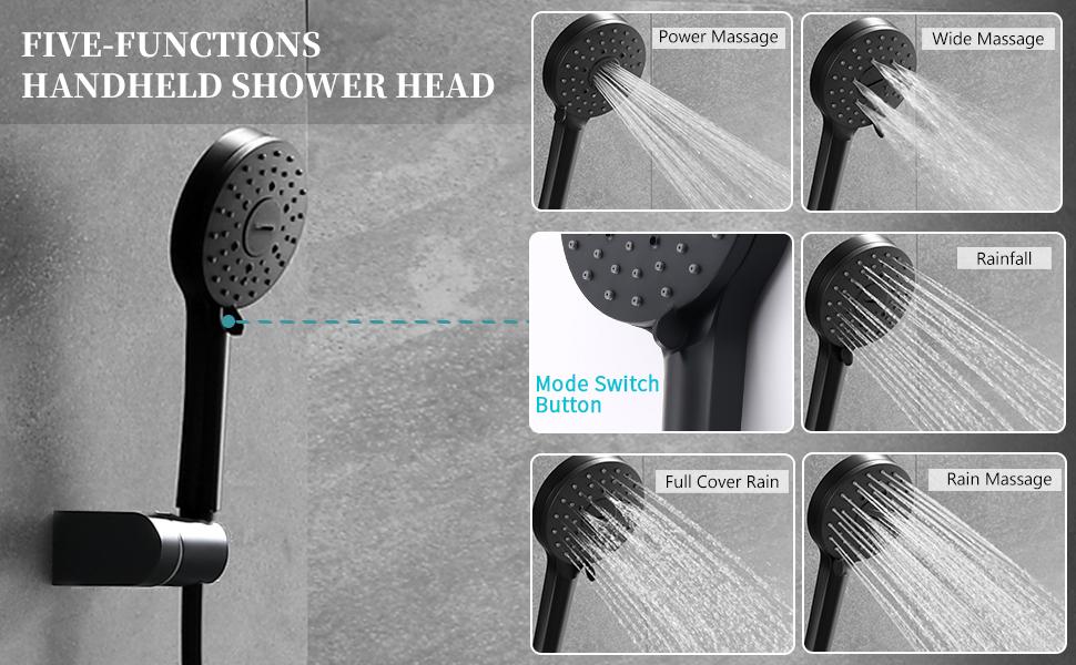 black handheld shower head