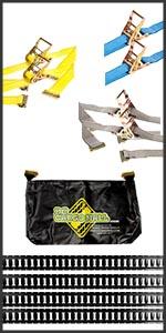 E-Track rails, storage bag and straps