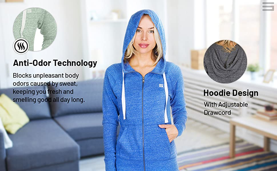 Anti-odor technology keeps you fresh all day long. Features an adjustable hoodie design a drawcord.
