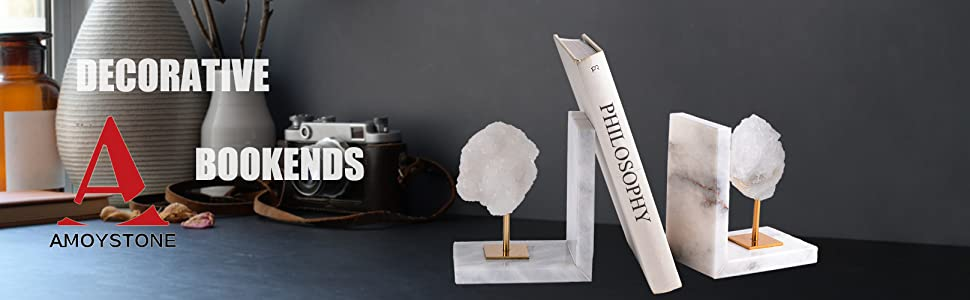 geode bookends for heavy books white agate