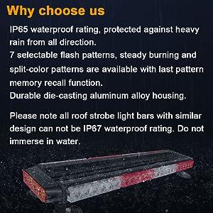 waterproof vehicle roof top magnetic red white emergency light bar