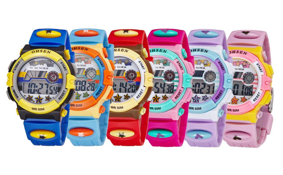 Alienwork Reloj Infantil Niña Goma Rojo Digital Calendario Fecha ...