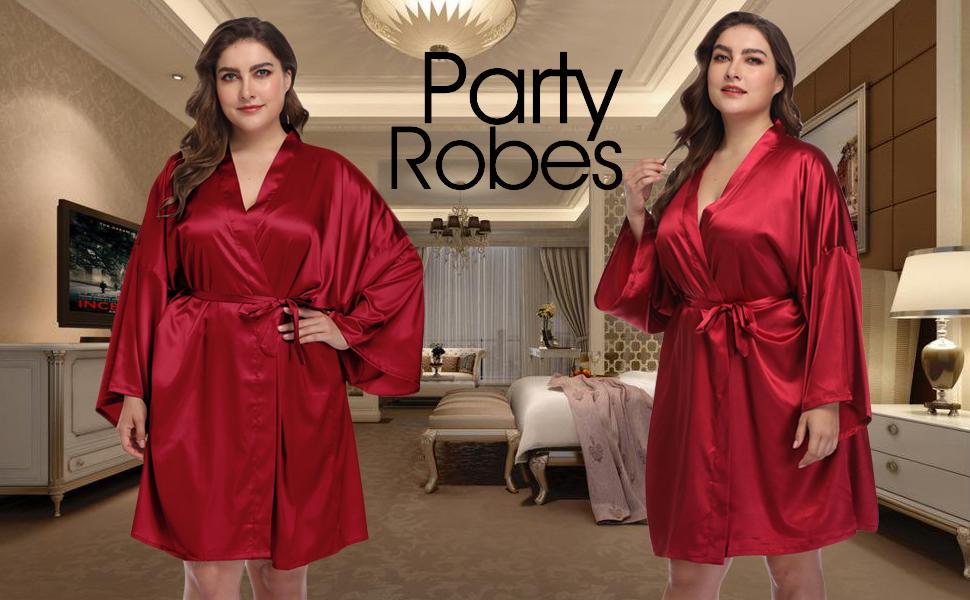 plus size satin robes for women