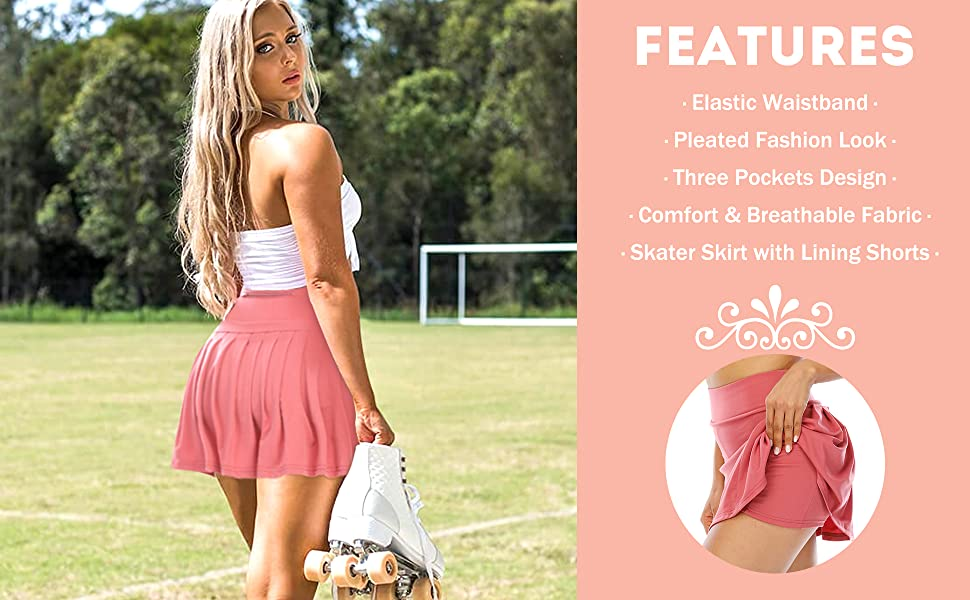 Women's Pleated Tennis Skirt Athletic Skorts Golf Running Skirts with Pockets