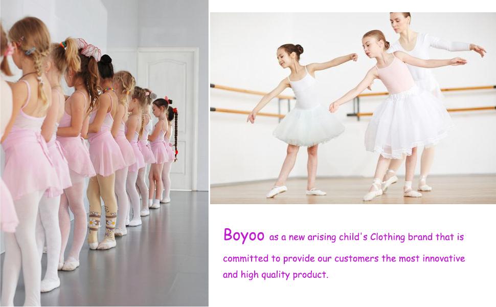 Boyoo Girls Ballet Dance Dress Ruffle Sleeve Dance Leotard with Sparkly Tutu Skirt for 3-11 Years