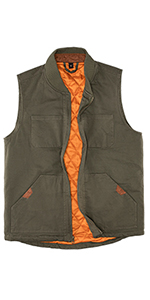 Men's Quilted Lined Vest Washed Canvas Winter Warm Outdoor Hunting Work Utility Travel Vest Jacket