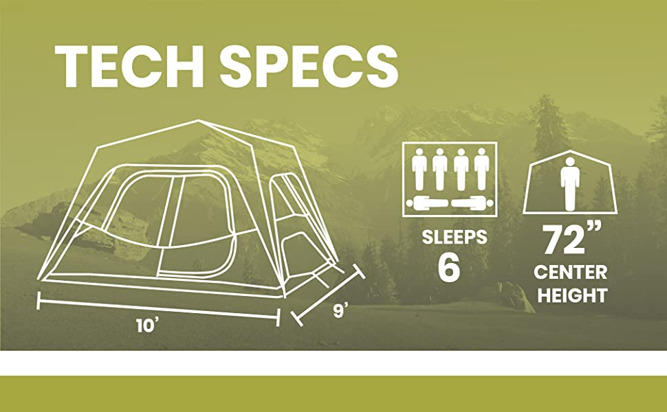 6 people small family tent tall ceiling camping tent large floor multi room room divider rainfly