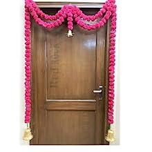 rani dark pink pom pom genda real looking marigold door and windows decorations mandap decorations