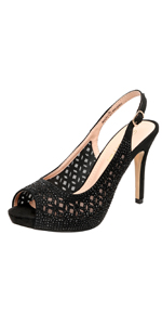Women's High Heels Platform Dress Rhinestones Peep Toe Pumps Shoes