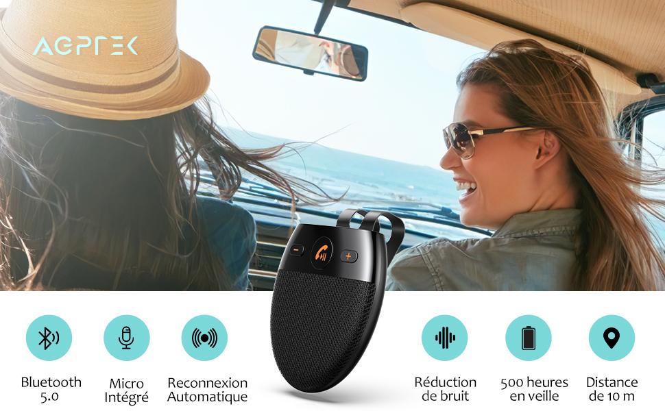 AGPTEK Kit Mains Libres pour Voiture Bluetooth 5.0 Haut-Parleur sans Fil Micro Int/égr/é avec Clip pour Visi/ère et R/éduction de Bruit Support du D/émarrage du Capteur//Siri//Google Assistant//Musique