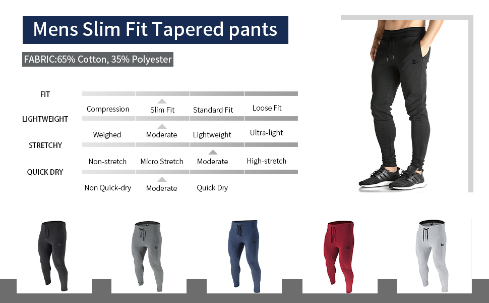Mens Zip Joggers Pants - Casual Gym Workout Track Pants Comfortable Slim Fit Tapered with Pockets