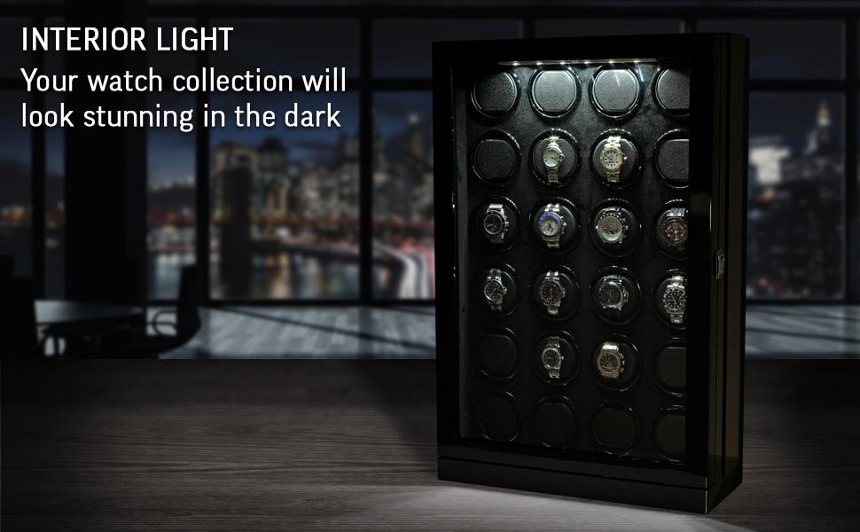 Watch winder interior backlight