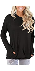 Womens Casual Loose Shirts Long Sleeve Blouses Tunic Tops with Pockets