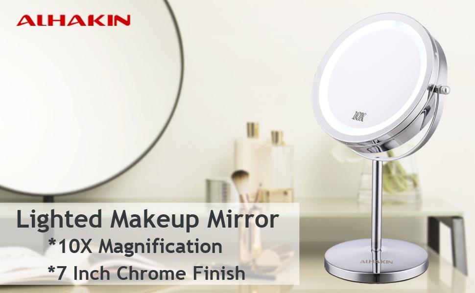 carga USB Espejo de maquillaje de mesa rotaci/ón de 180/° espejo de tocador de ba/ño con 20 luces LED espejo de mesa iluminado espejo cosm/ético de 10 aumentos
