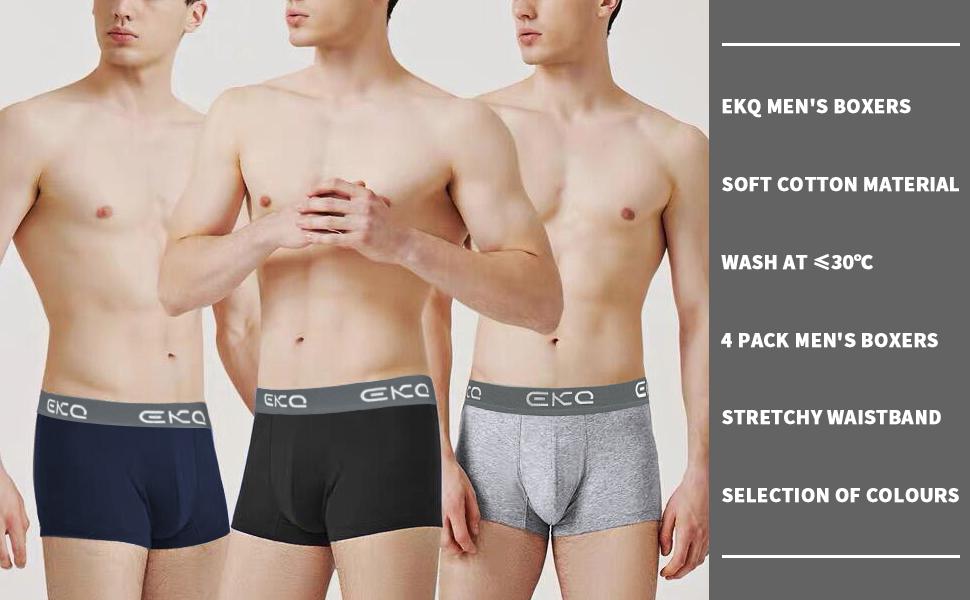 EKQ Boxer para Hombre Algodon Bóxers de Hombres Elásticos Multicolor Bóxer, Pack de 4: Amazon.es: Ropa y accesorios